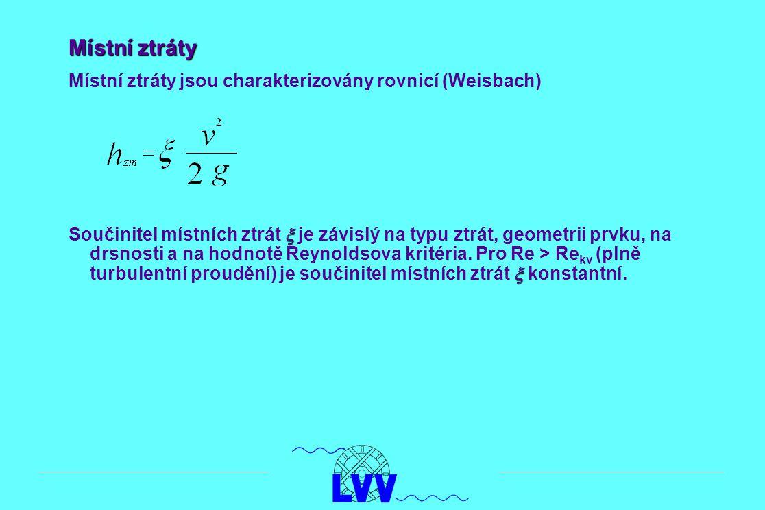 Místní ztráty Místní ztráty jsou charakterizovány rovnicí (Weisbach)