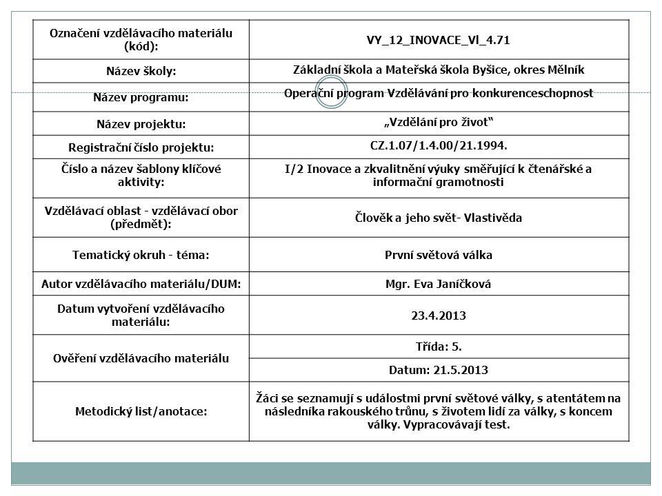 Označení vzdělávacího materiálu (kód): VY_12_INOVACE_Vl_4.71