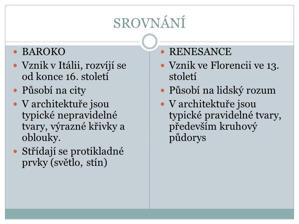 SROVNÁNÍ BAROKO Vznik v Itálii, rozvíjí se od konce 16. století