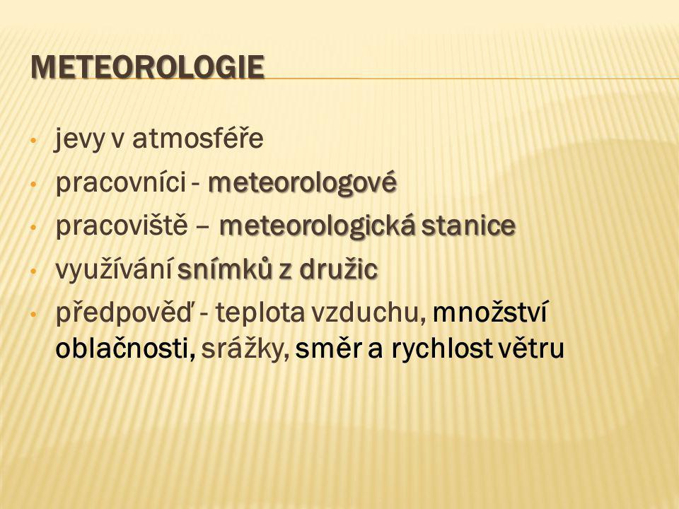 Meteorologie jevy v atmosféře pracovníci - meteorologové