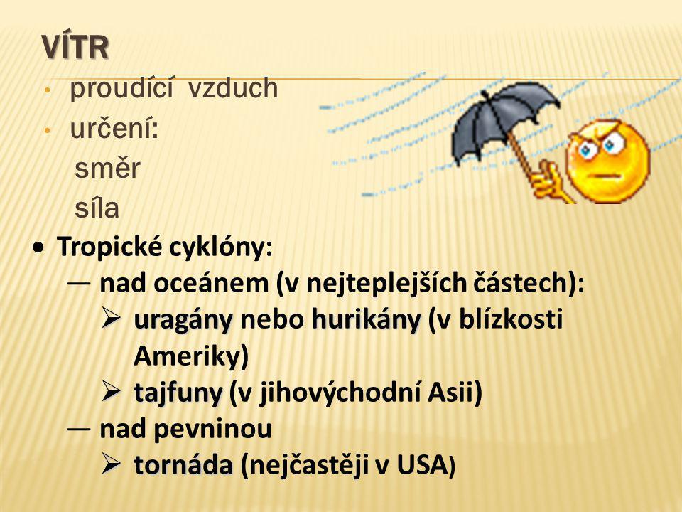 Vítr proudící vzduch určení: směr síla Tropické cyklóny: