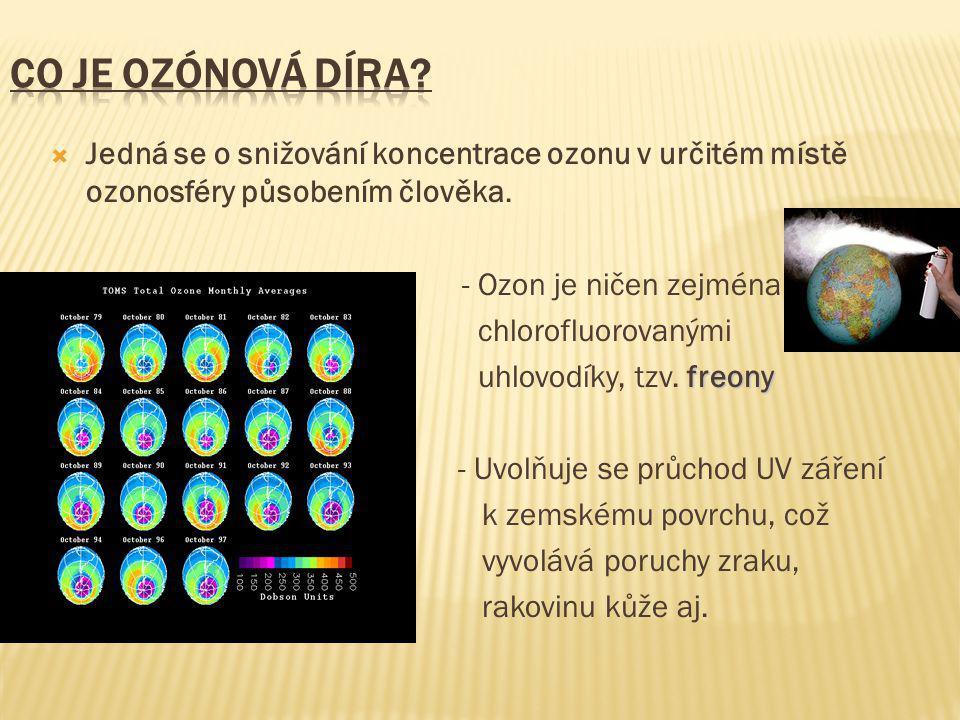 Co je ozónová díra Jedná se o snižování koncentrace ozonu v určitém místě ozonosféry působením člověka.