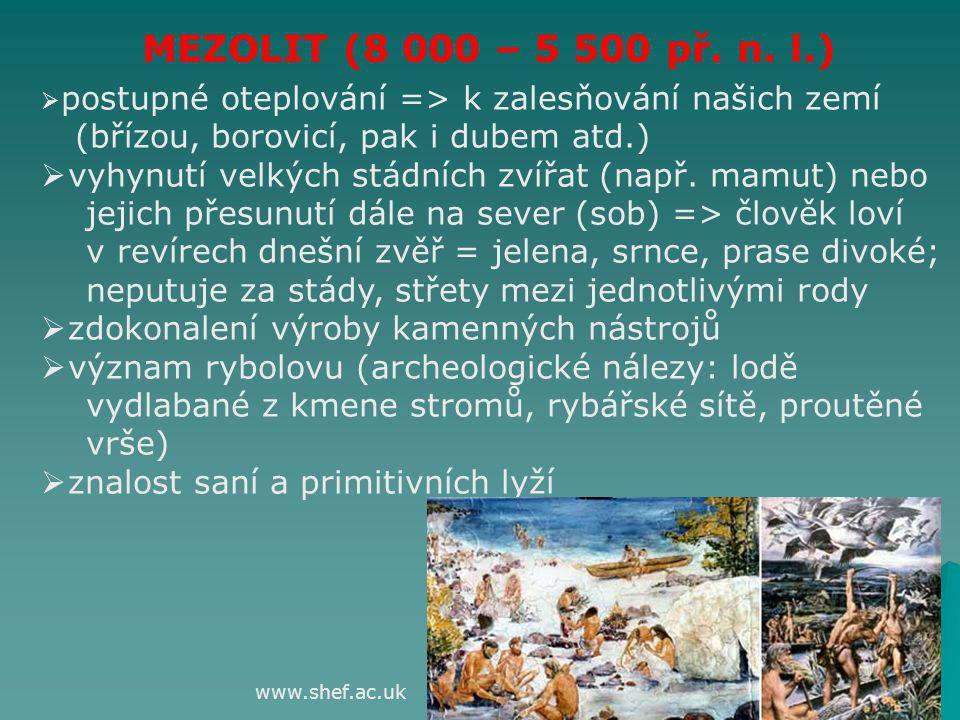 MEZOLIT (8 000 – 5 500 př. n. l.) (břízou, borovicí, pak i dubem atd.)