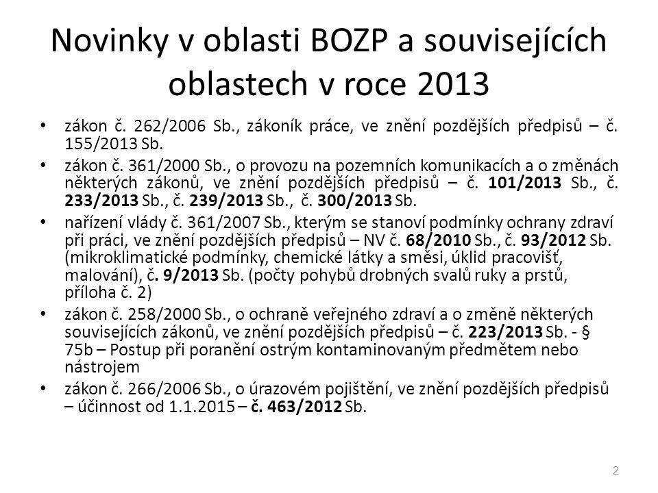 Novinky v oblasti BOZP a souvisejících oblastech v roce 2013