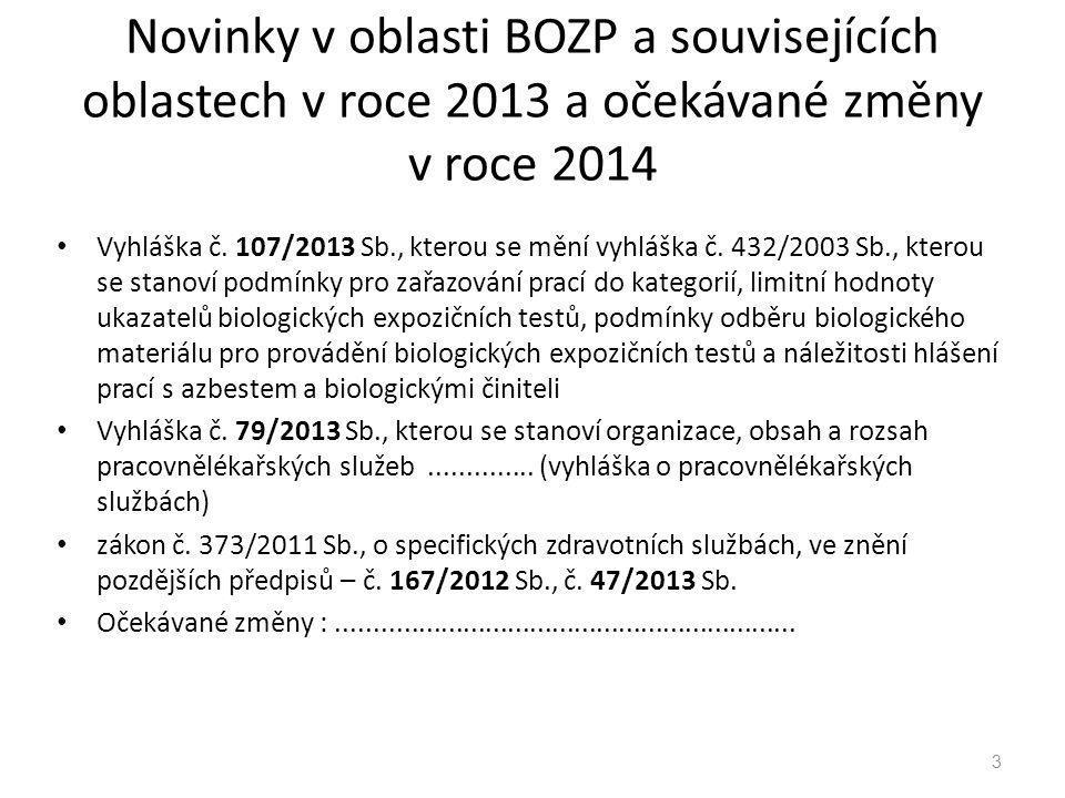 Novinky v oblasti BOZP a souvisejících oblastech v roce 2013 a očekávané změny v roce 2014