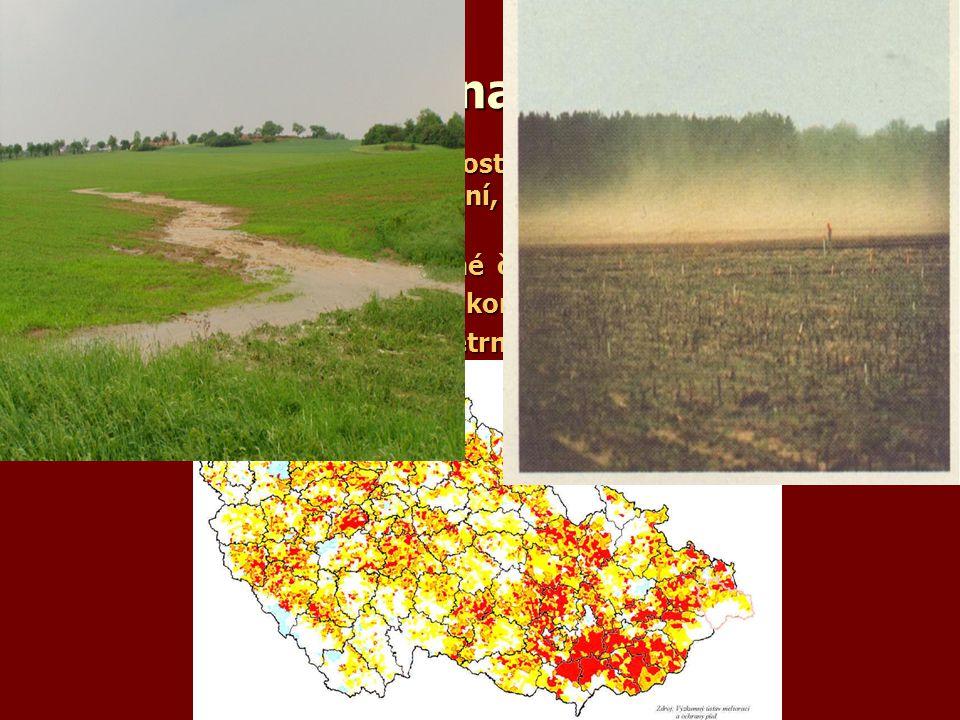 Ochrana půdy Vliv člověka – přímý - změna rostlinstva, hydrologických podmínek , nepřímý - hnojení, obdělávání ,degradace a kontaminace půd.