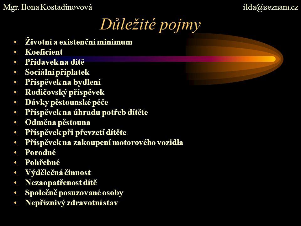 Důležité pojmy Mgr. Ilona Kostadinovová ilda@seznam.cz