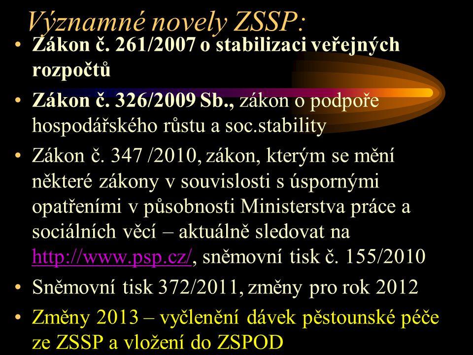 Významné novely ZSSP: Zákon č. 261/2007 o stabilizaci veřejných rozpočtů. Zákon č. 326/2009 Sb., zákon o podpoře hospodářského růstu a soc.stability.
