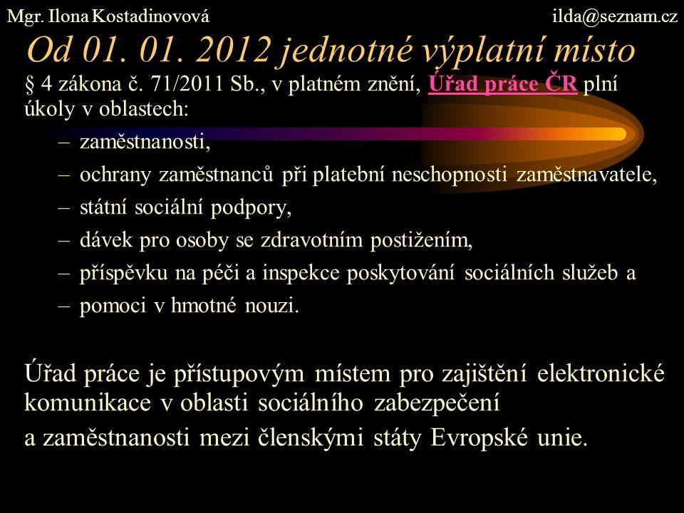 Od 01. 01. 2012 jednotné výplatní místo