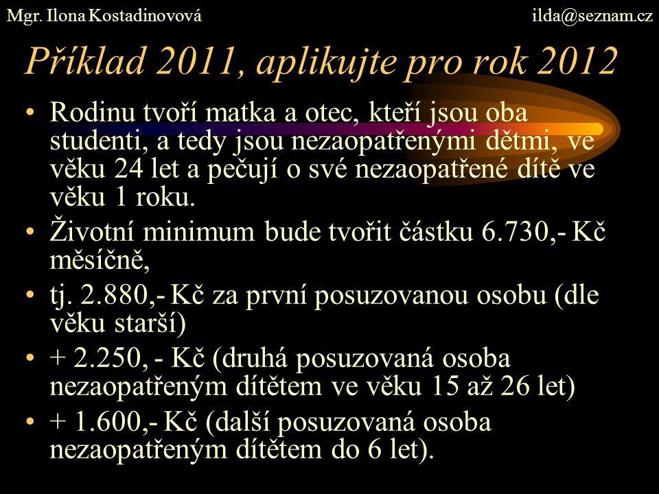 Příklad 2011, aplikujte pro rok 2012