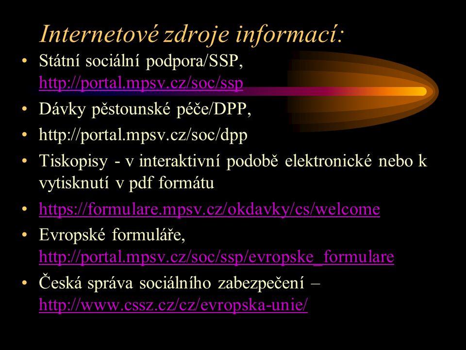 Internetové zdroje informací: