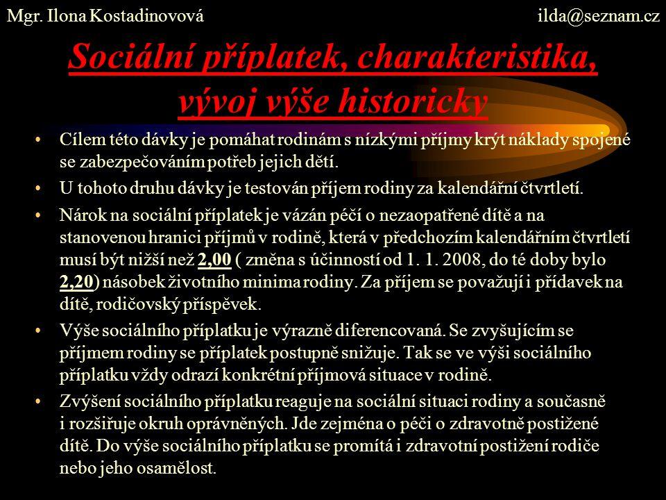 Sociální příplatek, charakteristika, vývoj výše historicky