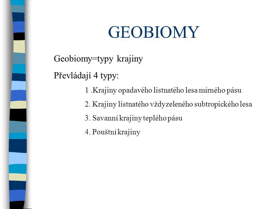 GEOBIOMY Geobiomy=typy krajiny Převládají 4 typy: