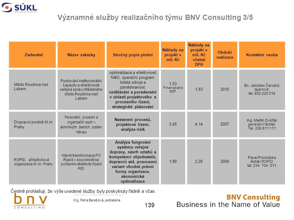 Významné služby realizačního týmu BNV Consulting 3/5