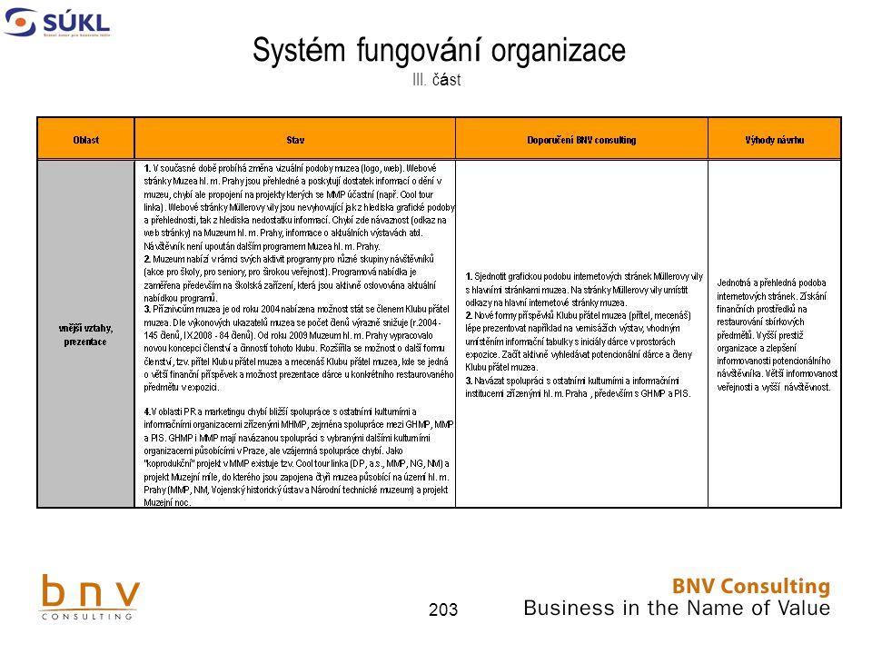 Systém fungování organizace III. část