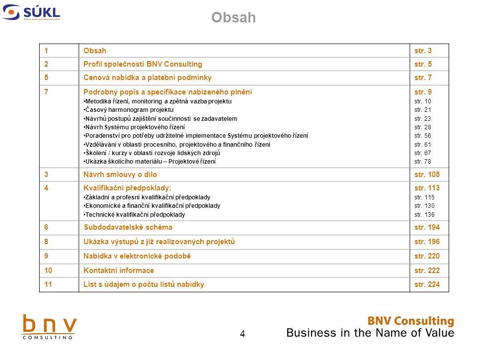 Obsah 1 Obsah str. 3 2 Profil společnosti BNV Consulting str. 5 5