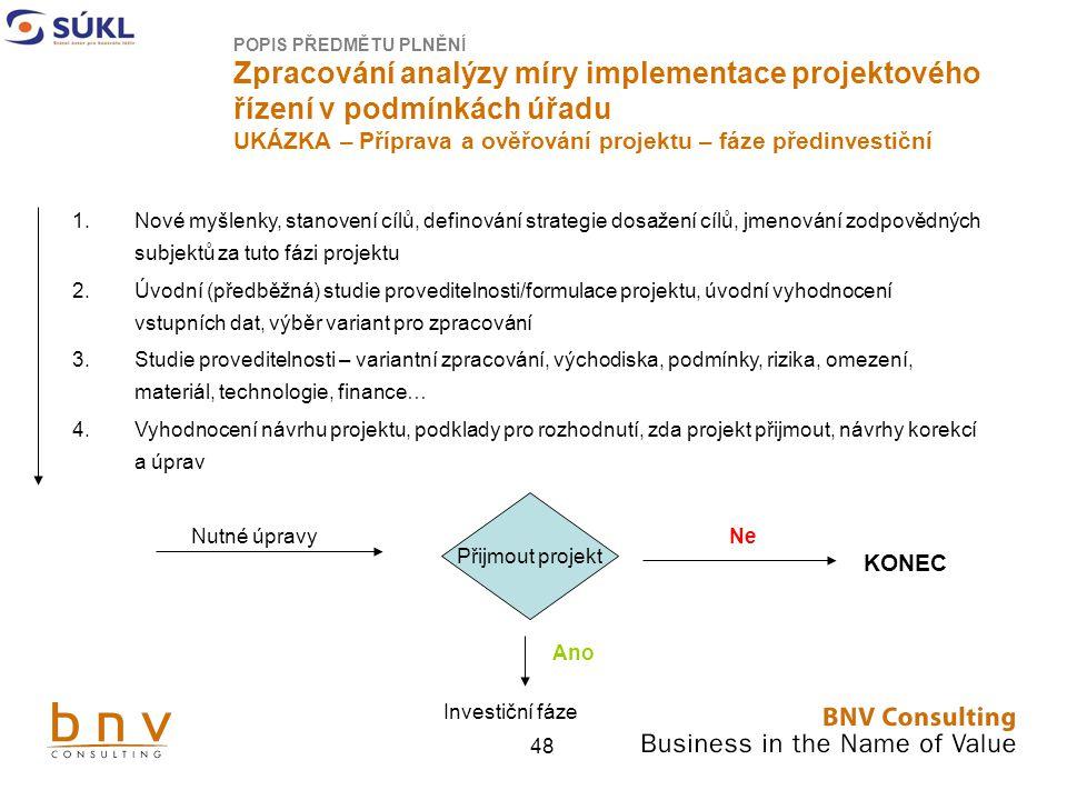POPIS PŘEDMĚTU PLNĚNÍ Zpracování analýzy míry implementace projektového řízení v podmínkách úřadu UKÁZKA – Příprava a ověřování projektu – fáze předinvestiční