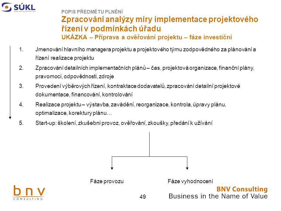 POPIS PŘEDMĚTU PLNĚNÍ Zpracování analýzy míry implementace projektového řízení v podmínkách úřadu UKÁZKA – Příprava a ověřování projektu – fáze investiční