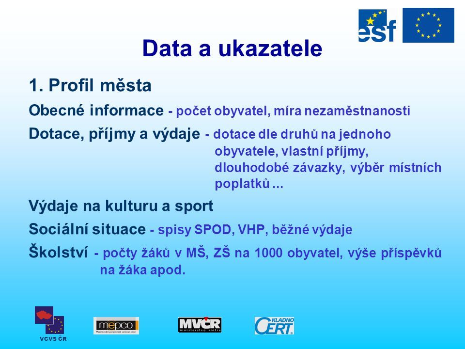 Data a ukazatele 1. Profil města