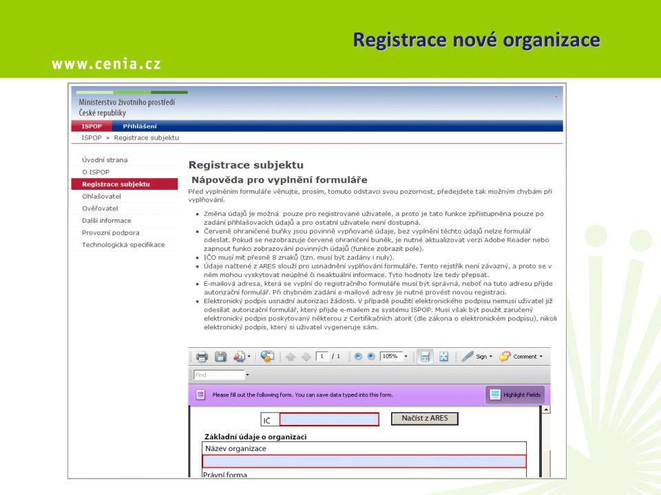 Registrace nové organizace