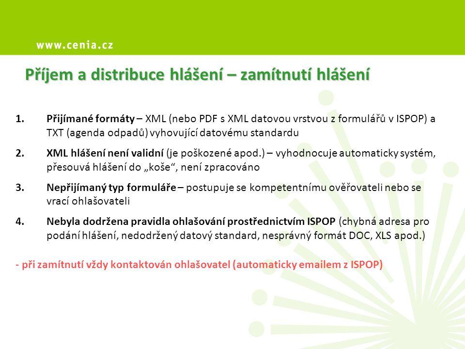Příjem a distribuce hlášení – zamítnutí hlášení