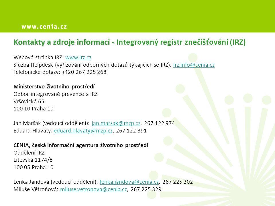 Kontakty a zdroje informací - Integrovaný registr znečišťování (IRZ)