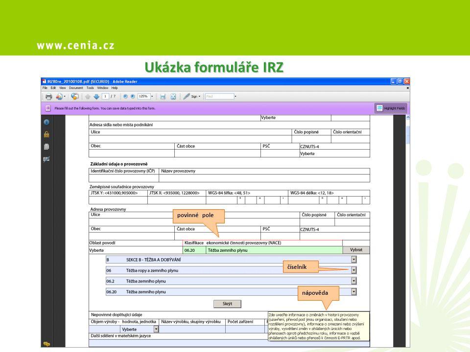 Ukázka formuláře IRZ povinné pole číselník nápověda