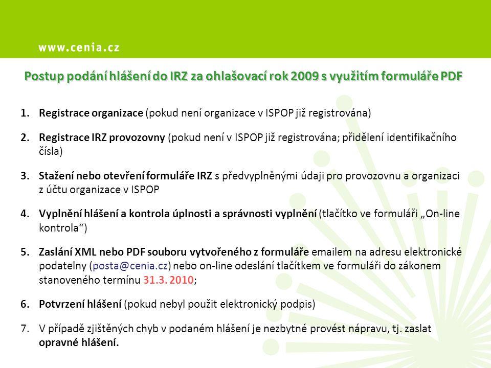 Postup podání hlášení do IRZ za ohlašovací rok 2009 s využitím formuláře PDF