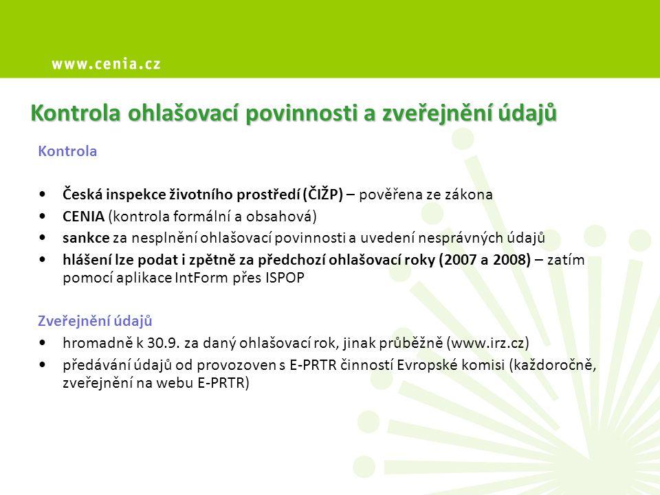 Kontrola ohlašovací povinnosti a zveřejnění údajů