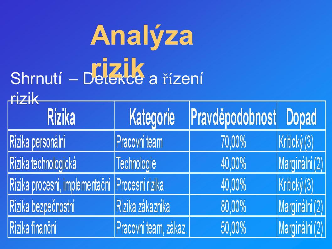 Analýza rizik Shrnutí – Detekce a řízení rizik