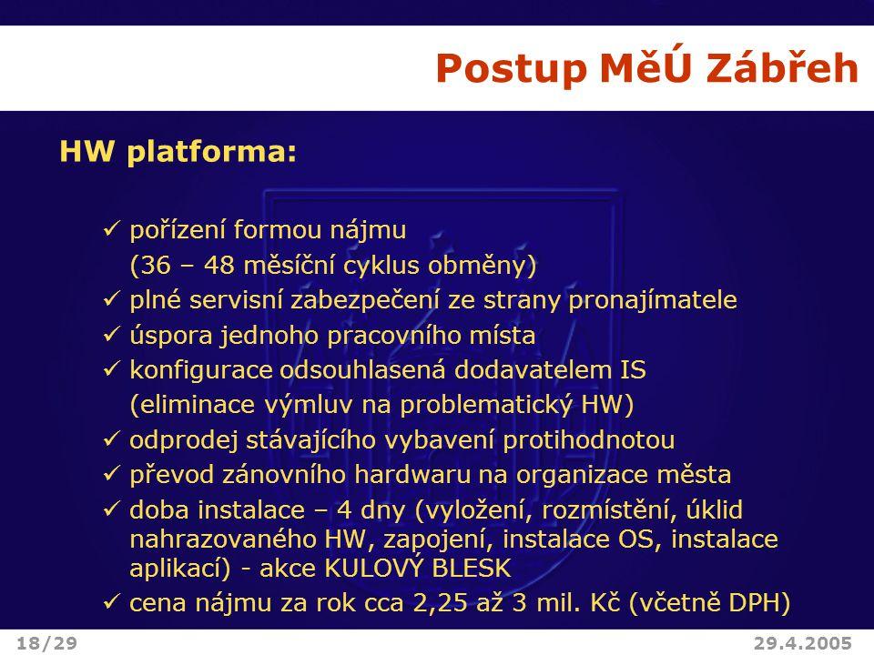 Postup MěÚ Zábřeh HW platforma: pořízení formou nájmu