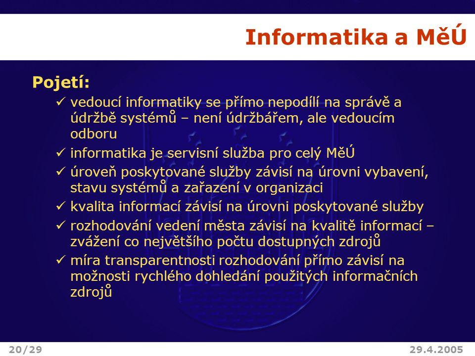 Informatika a MěÚ Pojetí: