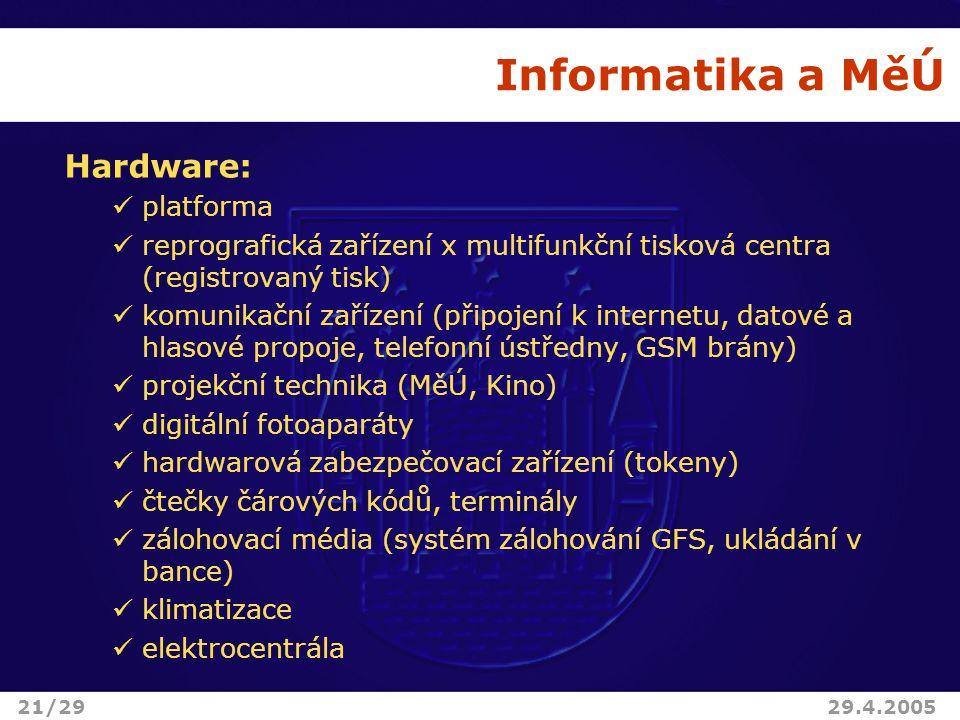 Informatika a MěÚ Hardware: platforma