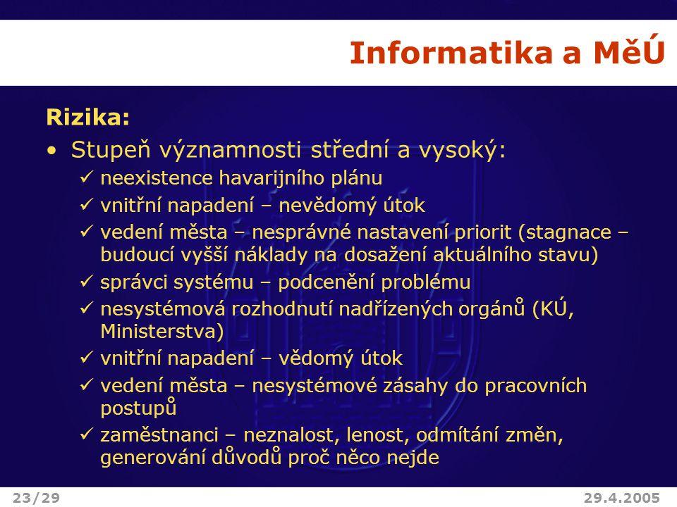 Informatika a MěÚ Rizika: Stupeň významnosti střední a vysoký: