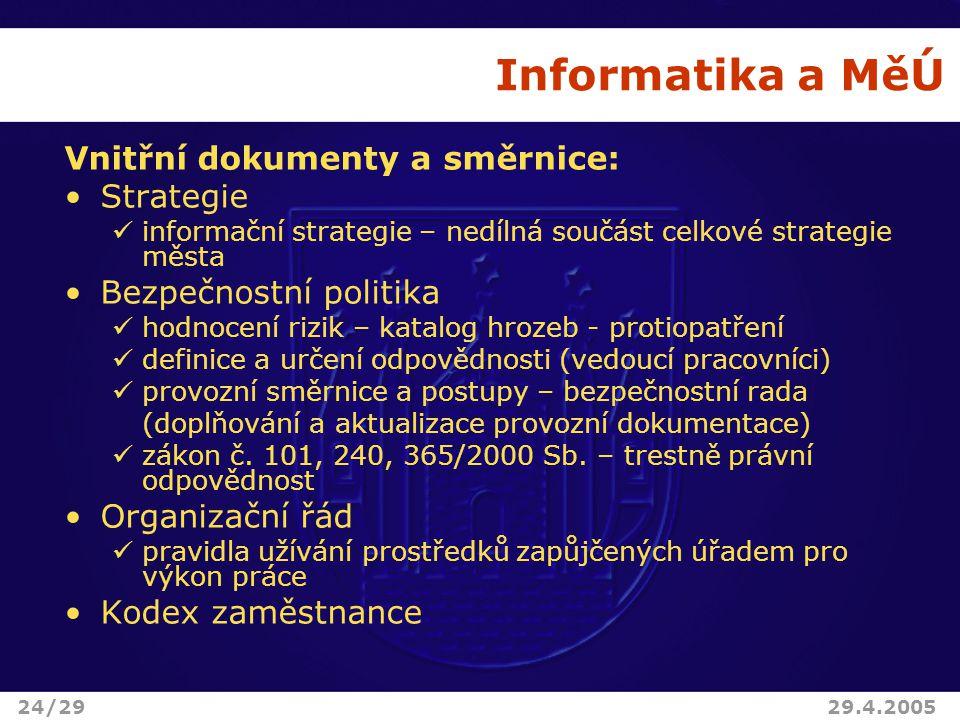 Informatika a MěÚ Vnitřní dokumenty a směrnice: Strategie