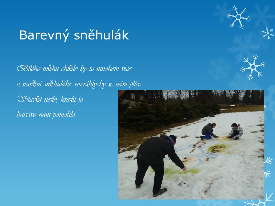 Barevný sněhulák Bílého sněhu chtělo by to mnohem více, u stavění sněhuláka roztáhly by se nám plíce.