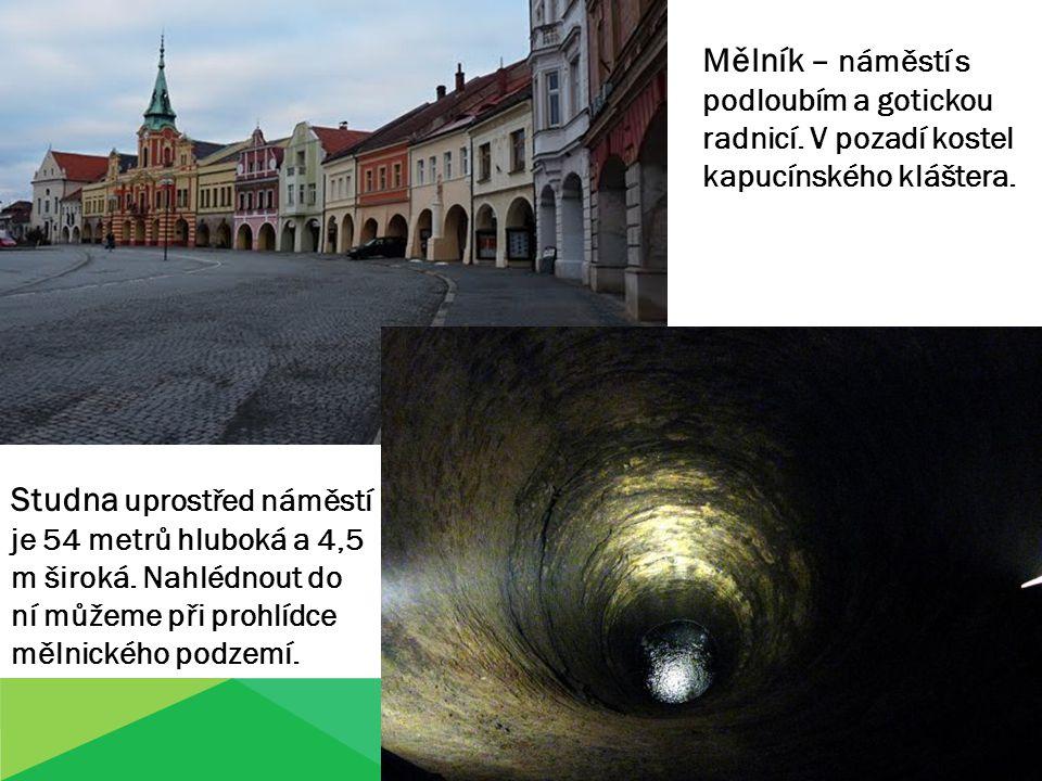 Mělník – náměstí s podloubím a gotickou radnicí