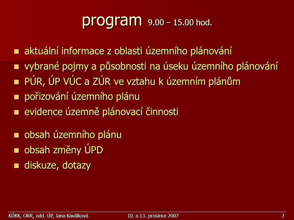 program 9.00 – 15.00 hod. aktuální informace z oblasti územního plánování. vybrané pojmy a působnosti na úseku územního plánování.