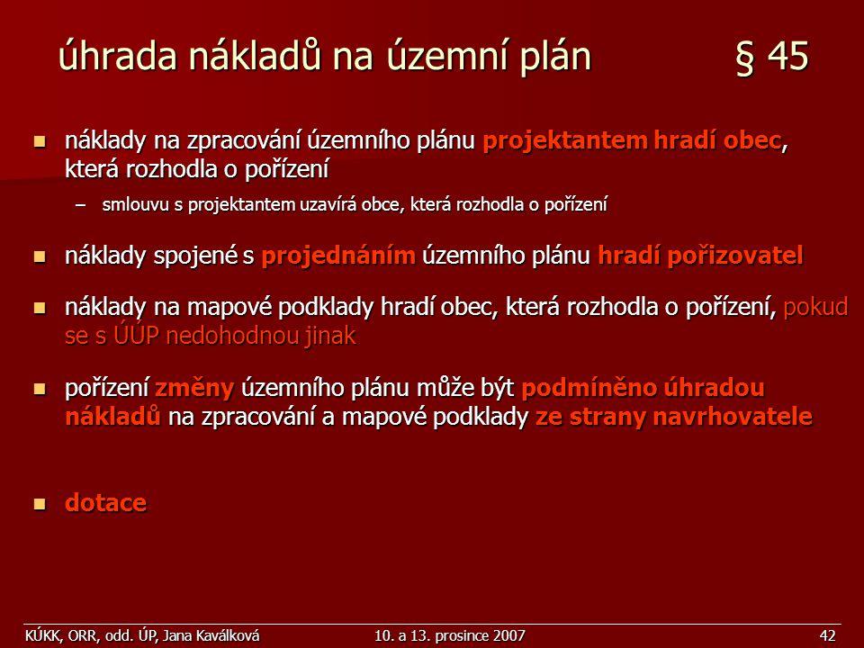 úhrada nákladů na územní plán § 45
