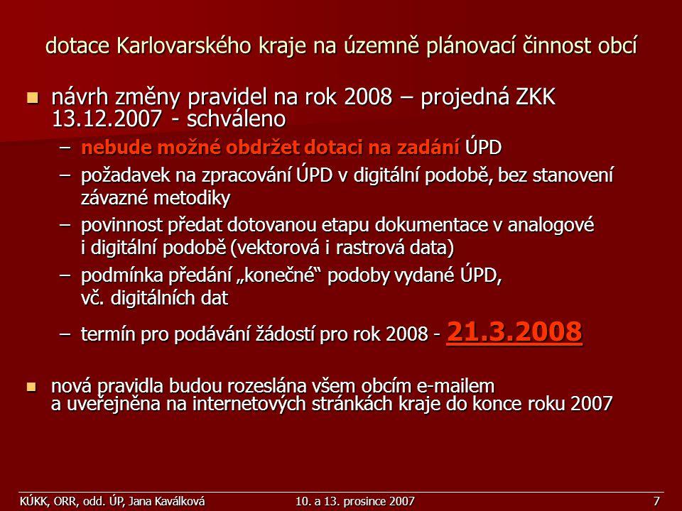 dotace Karlovarského kraje na územně plánovací činnost obcí