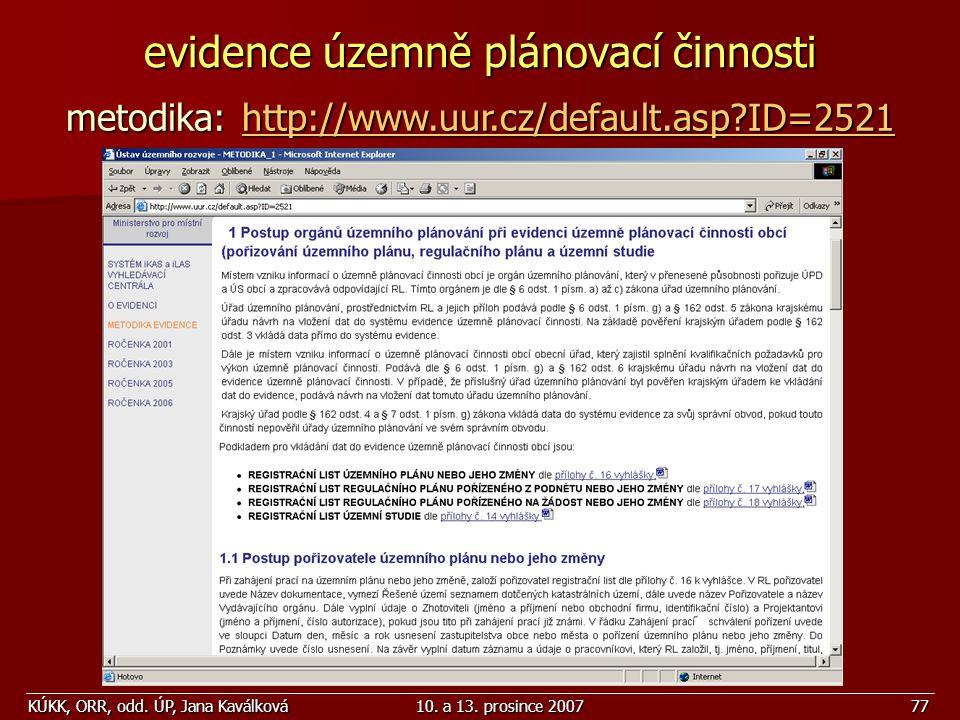 evidence územně plánovací činnosti
