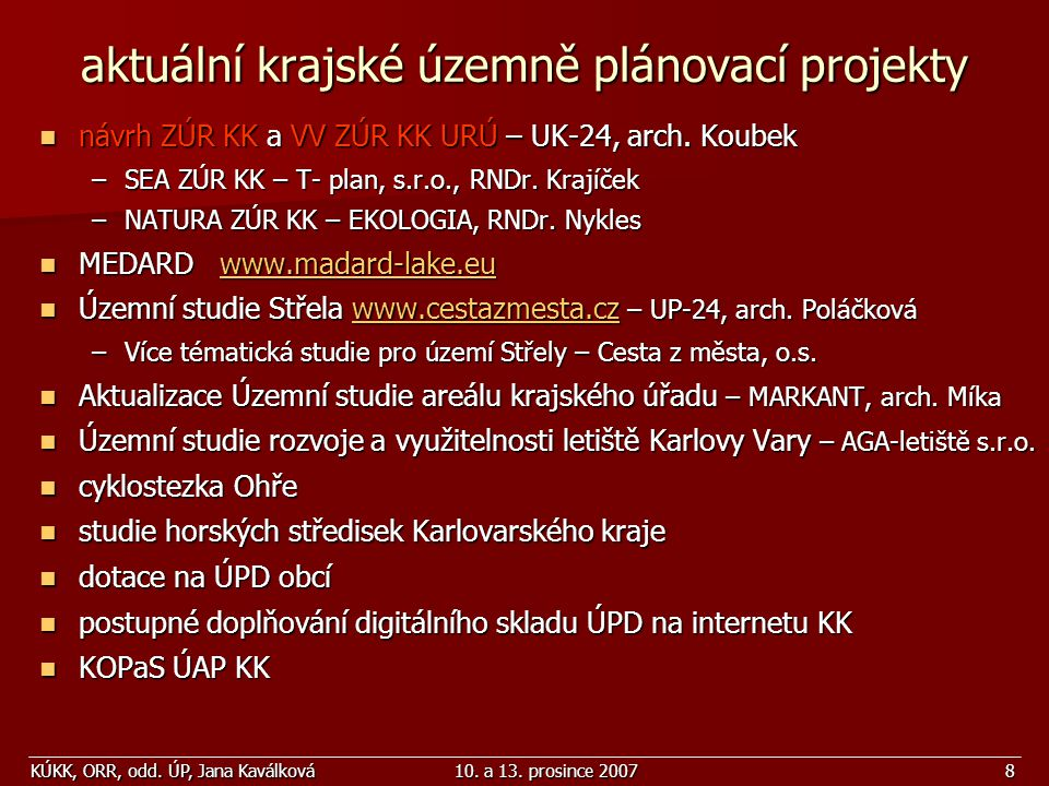 aktuální krajské územně plánovací projekty