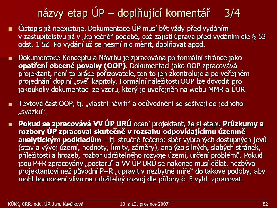 názvy etap ÚP – doplňující komentář 3/4