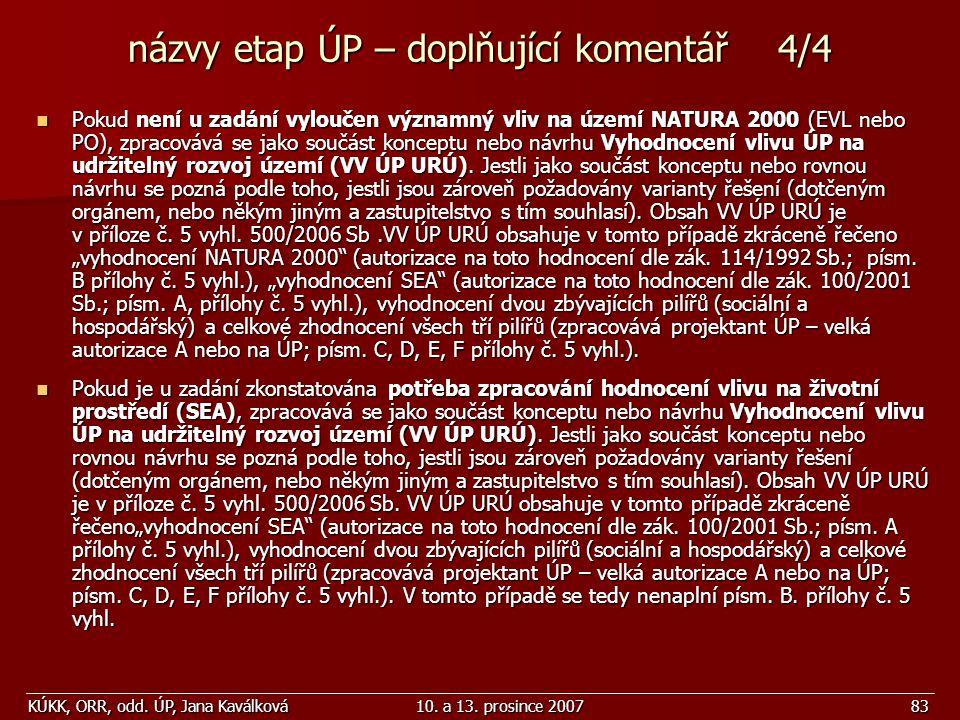 názvy etap ÚP – doplňující komentář 4/4
