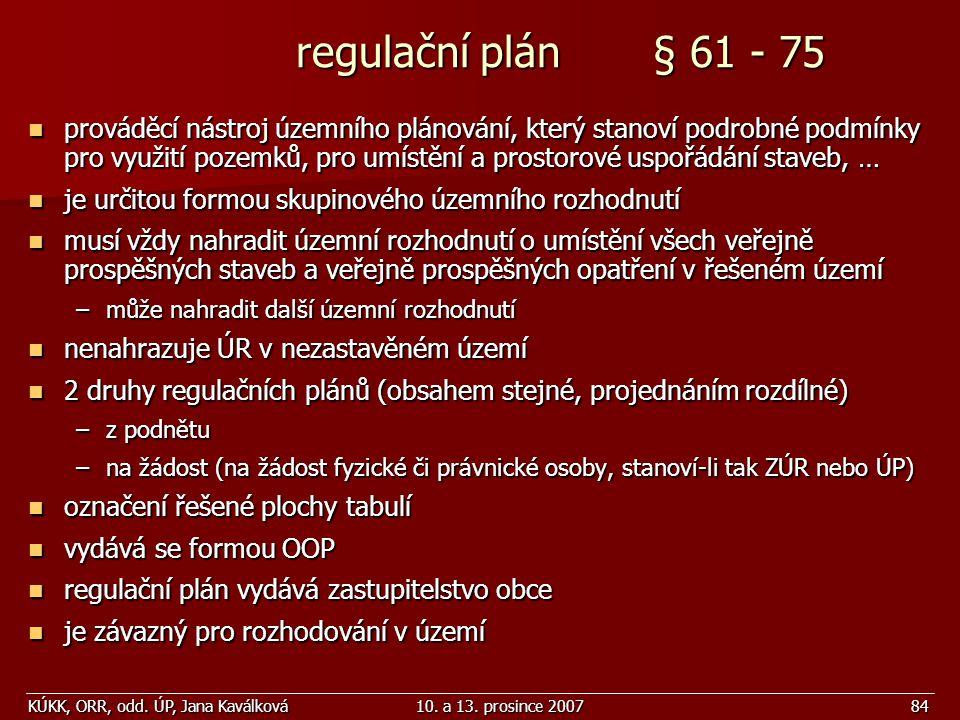 regulační plán § 61 - 75
