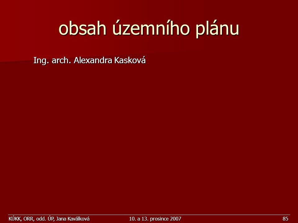 obsah územního plánu Ing. arch. Alexandra Kasková