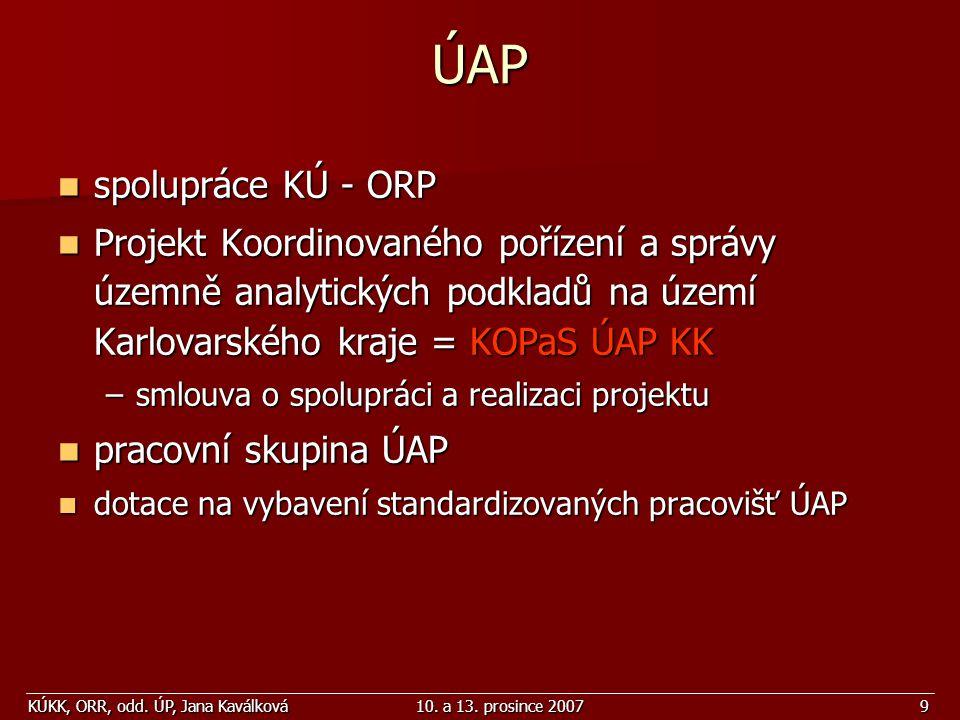 ÚAP spolupráce KÚ - ORP. Projekt Koordinovaného pořízení a správy územně analytických podkladů na území Karlovarského kraje = KOPaS ÚAP KK.