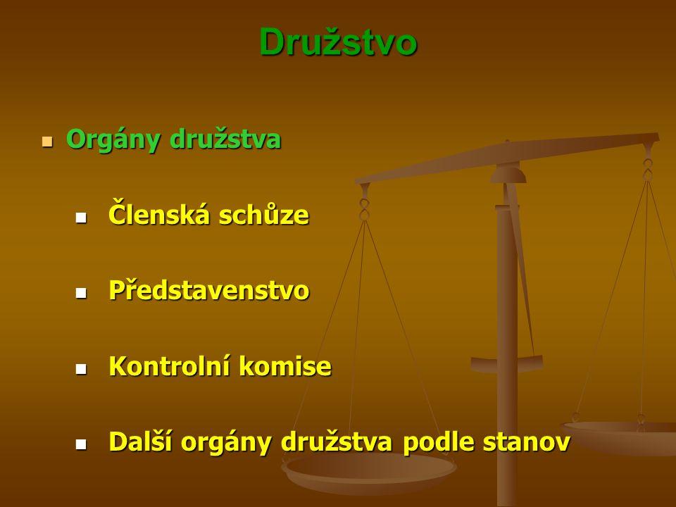 Družstvo Orgány družstva Členská schůze Představenstvo