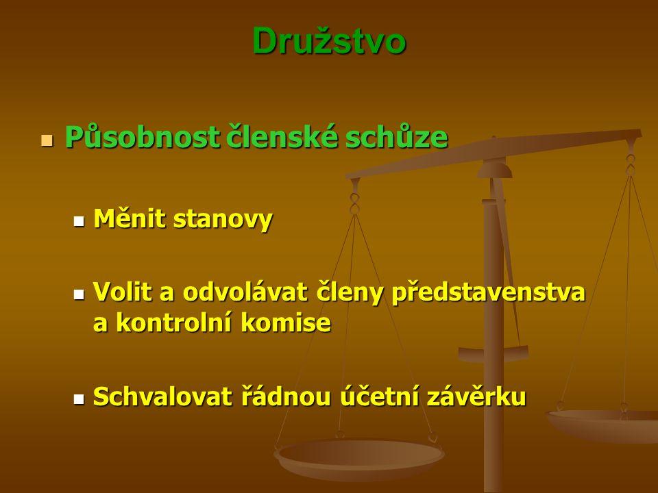 Družstvo Působnost členské schůze Měnit stanovy
