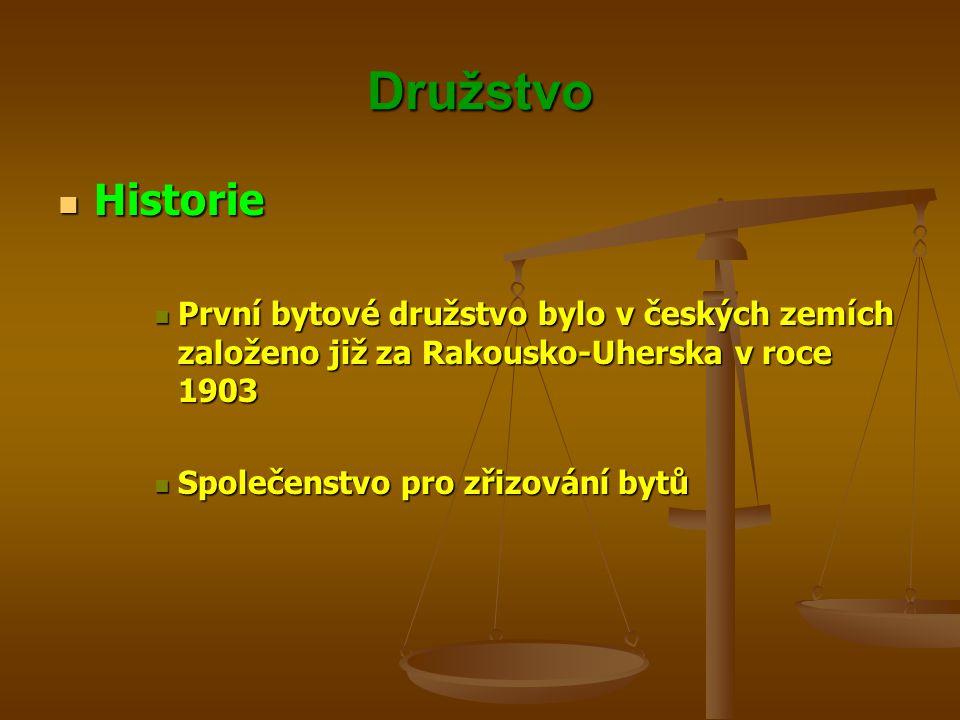 Družstvo Historie. První bytové družstvo bylo v českých zemích založeno již za Rakousko-Uherska v roce 1903.